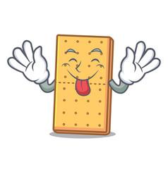 Tongue out graham cookies mascot cartoon vector
