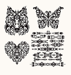 tribal set with heart wolf butterfly and ethnic vector image