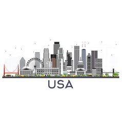 usa city skyline with gray buildings isolated on vector image
