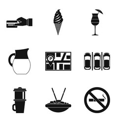 Vegetarian tavern icons set simple style vector