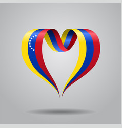 Venezuelan flag heart-shaped ribbon vector