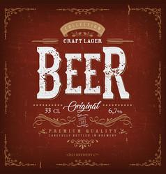 vintage beer label for bottle vector image