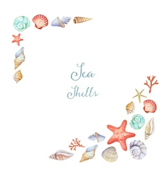 Watercolor corners frame with sea shells vector