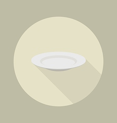 White blank plate flat icon vector