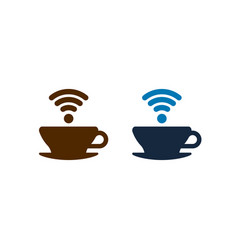 wifi coffee icons design isolated vector image