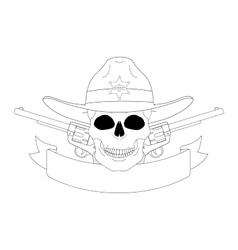 Wild west sheriff emblem Contour vector image