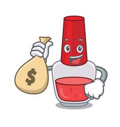 With money bag nail polish character cartoon vector