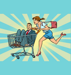woman bought a groom shopping cart trolley sale vector image