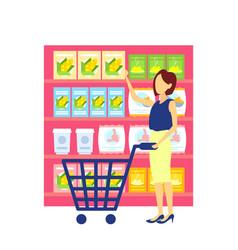 woman customer carrying trolley cart choosing food vector image