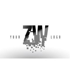 Zw z w pixel letter logo with digital shattered vector