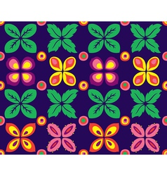 a seamless flowers and leaf pattern vector image