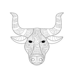 cow head coloring for adults vector image