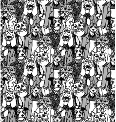Crowd people like cats and dogs seamless pattern vector image