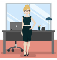 cute secretary at the office with laptop and vector image
