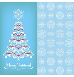 Greeting card with Christmass tree blue vector image