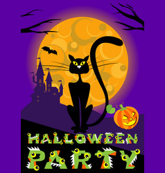 halloween greeting card with cat moon vector image