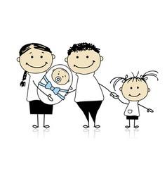 Happy parents with children newborn baby in hands vector image
