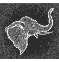 Head of elephant in profile line art boho design vector
