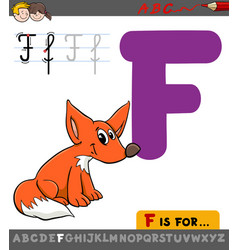 letter f with cartoon fox vector image