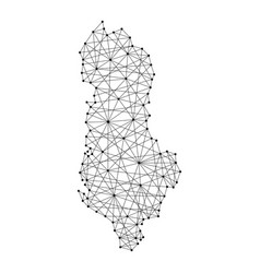 Map of albania from polygonal black lines vector