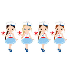 nautical little girls with starfish vector image vector image