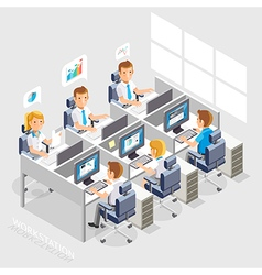 Business People Working On An Office Desk vector image