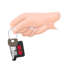 car key in human hand flat vector image