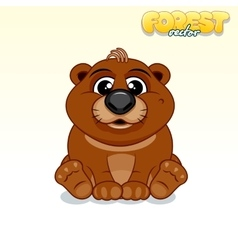 Cute Cartoon Brown Bear Funny Animal vector image vector image