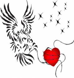 eagle heart vector image vector image