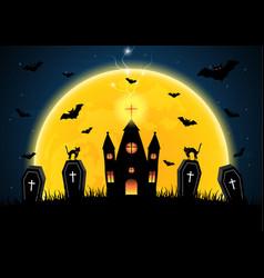 halloween coffin graveyard castle moon bat vector image vector image