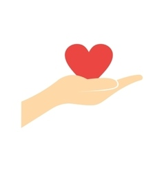 A hand giving a red heart flat icon vector image vector image