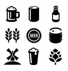 Beer Icons Set on White Background vector image