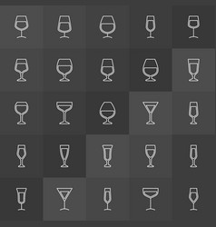cocktail and wine glass icons vector image