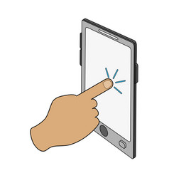 color image cartoon finger touching a tablet vector image