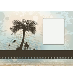 couple under palm frame background vector image vector image