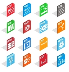 File Type Icons set isometric 3d style vector image