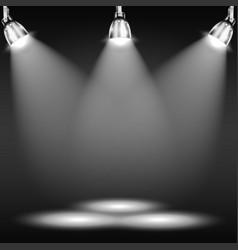 Illuminated floor in dark room vector