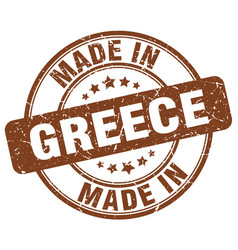 made in greece brown grunge round stamp vector image vector image