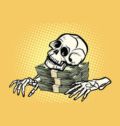 Skeleton skull dollar money wealth and greed vector