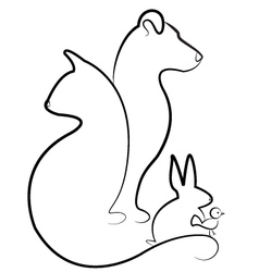 Cat dog rabbit and bird silhouettes logo vector image
