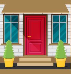 Front door house exterior flat vector