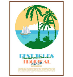 retro seaside view minimalistic advertising poster vector image vector image