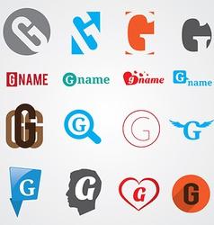 Set of alphabet symbols of letter G vector image