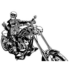 skeleton rider on chopper vector image