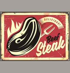 steak house retro advertisement vector image vector image