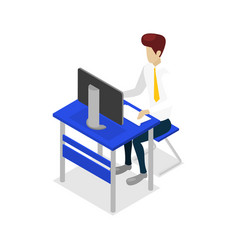 young man work on desktop computer icon vector image
