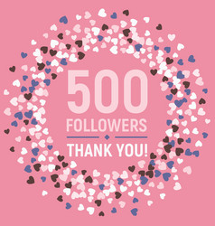 500 followers thank you card social network banner vector
