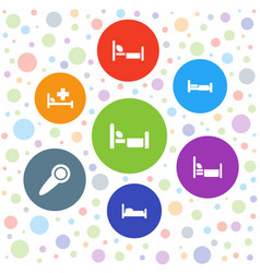 7 motel icons vector