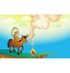 A boy riding a horse vector