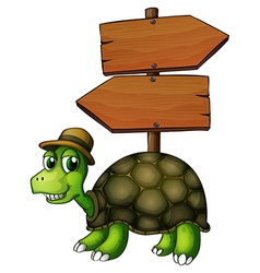 A turtle under an empty arrowboard vector image vector image